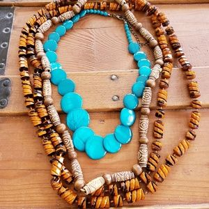 VINTAGE NECKLACE LOT OF 3 BOHO WOOD BEAD NECKLACE